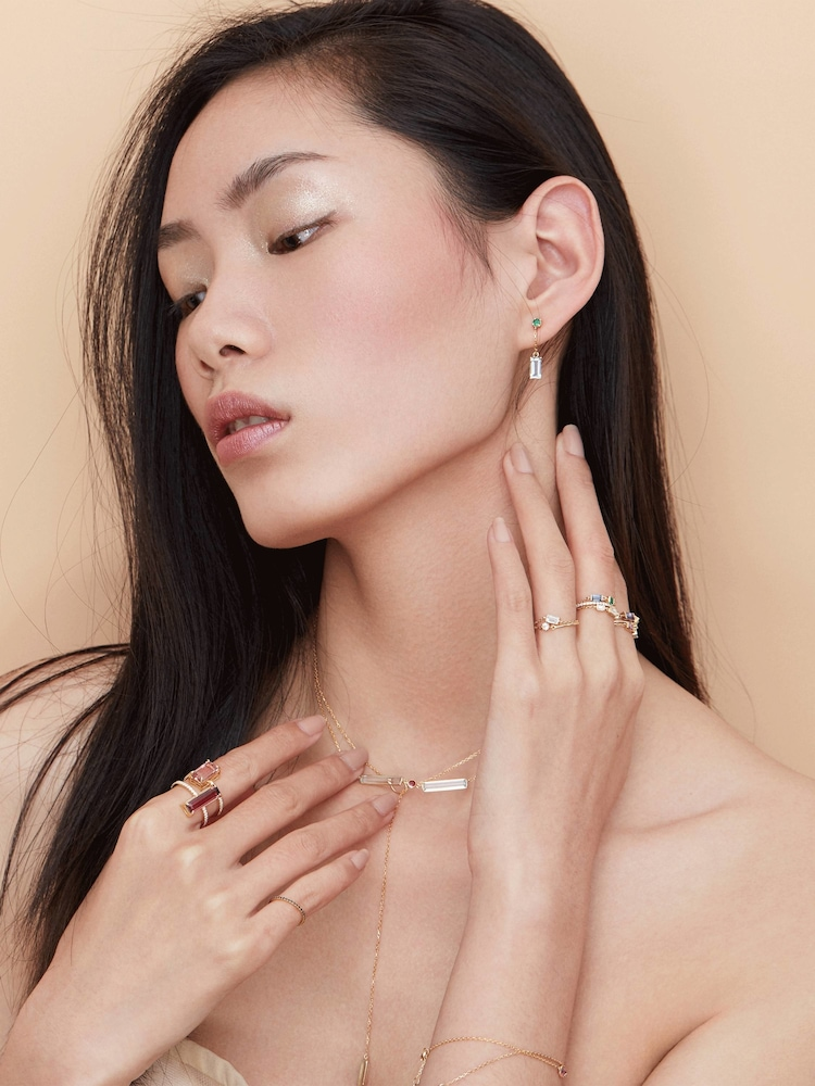 Topaz and Emerald Chain Ring Yi Collection