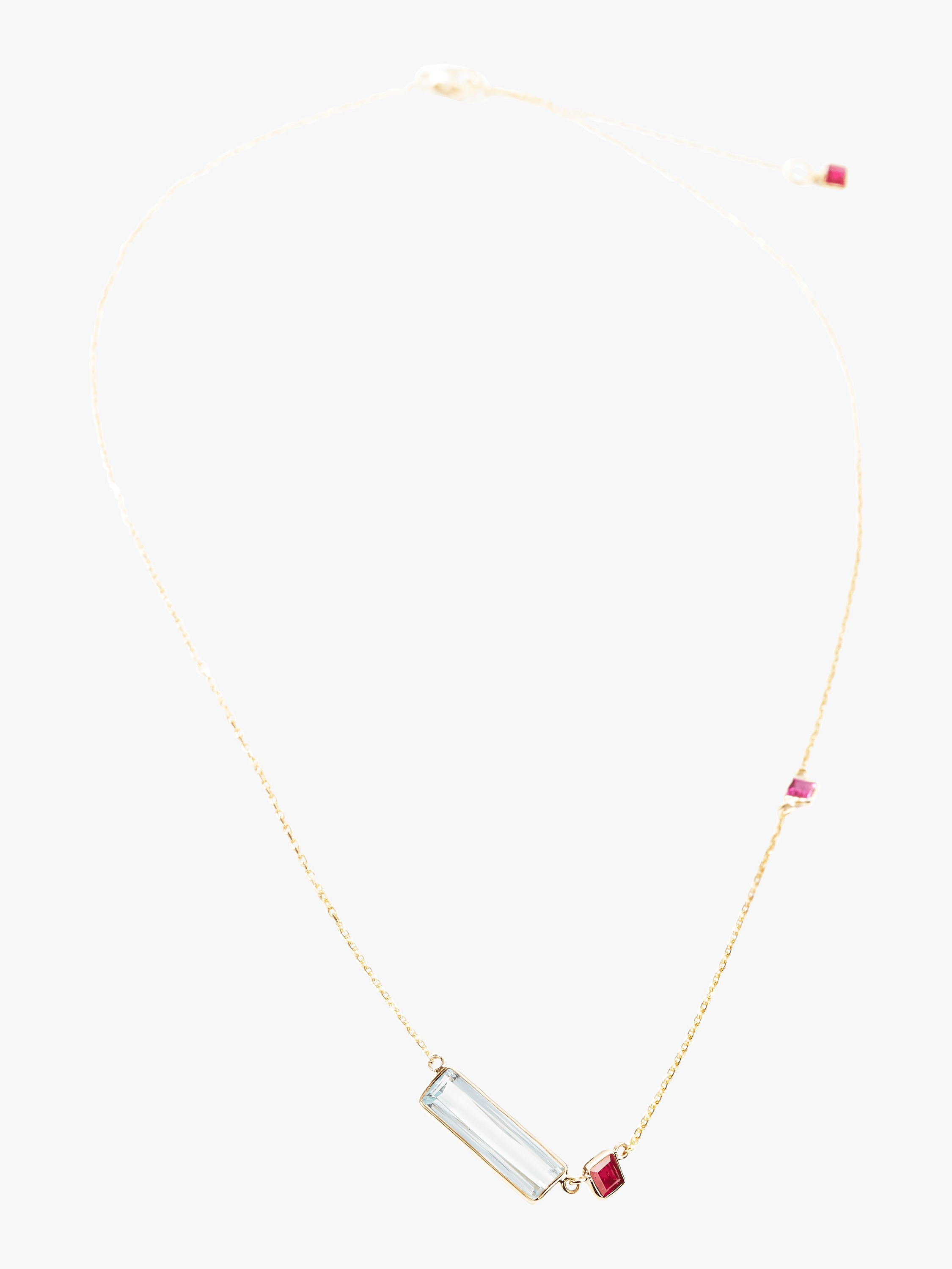 Yi Collection Aquamarine & Ruby Necklace 2