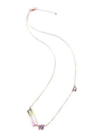 Watermelon Tourmaline Bar Necklace