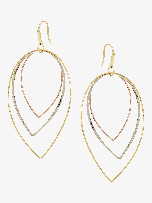 Three Tier Tri-Gold Earrings