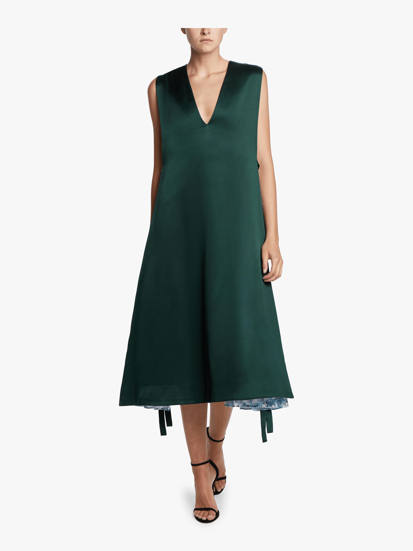 Side Pleat V-Neck Dress