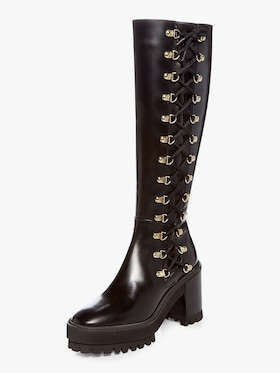 Lace-Up Block Heel Boot