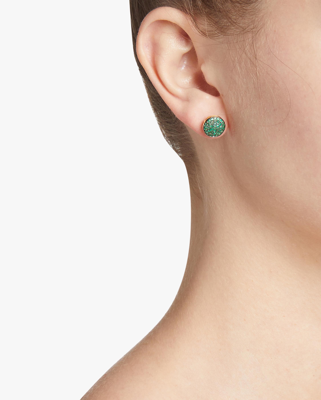 Emerald Round Pavé Studs