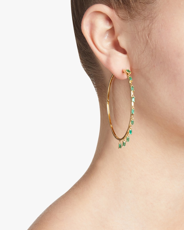 Emerald Baguette Dangle Hoops Shay Jewelry