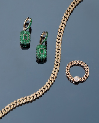 Pavé Emerald Drop Huggie Earrings
