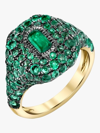 Pavé Emerald Pinky Ring