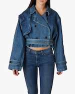 Hudson Cropped Trench Denim Jacket 0