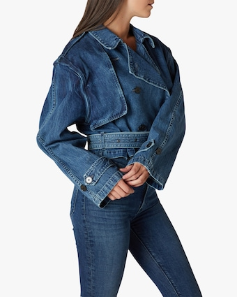 Hudson Cropped Trench Denim Jacket 2