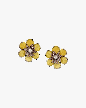 Amrapali Yellow Diamond Flower Earrings 2