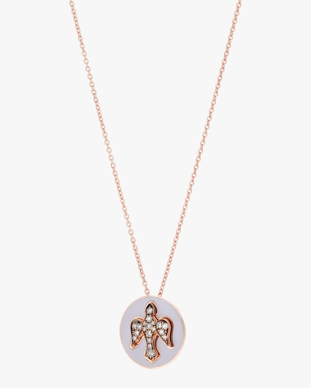 Selim Mouzannar Lilac Enamel & Diamond Dove Pendant Necklace 1