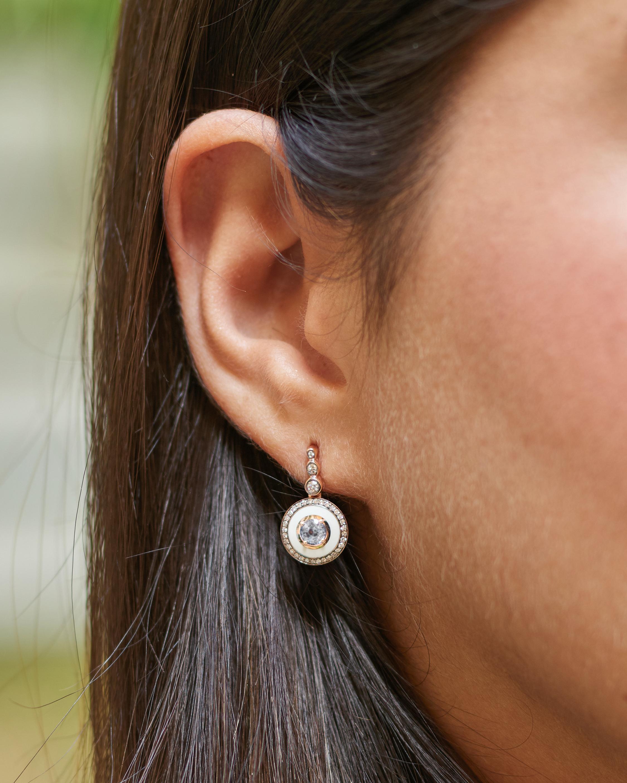Selim Mouzannar Ivory Enamel & Diamond Drop Earrings 1