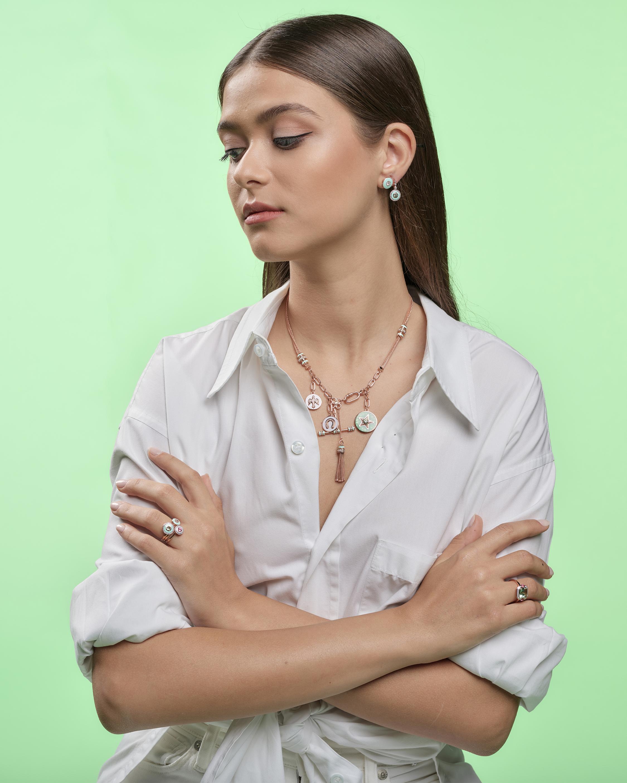 Selim Mouzannar Lilac Enamel & Diamond Stud Earrings 2