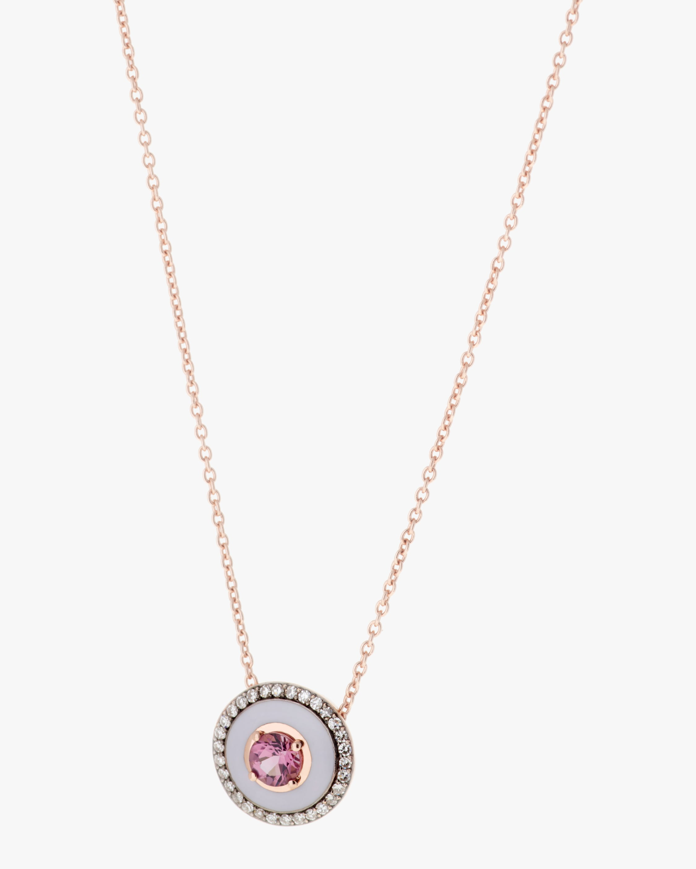 Selim Mouzannar Lilac Enamel, Diamond & Tourmaline Pendant Necklace 1