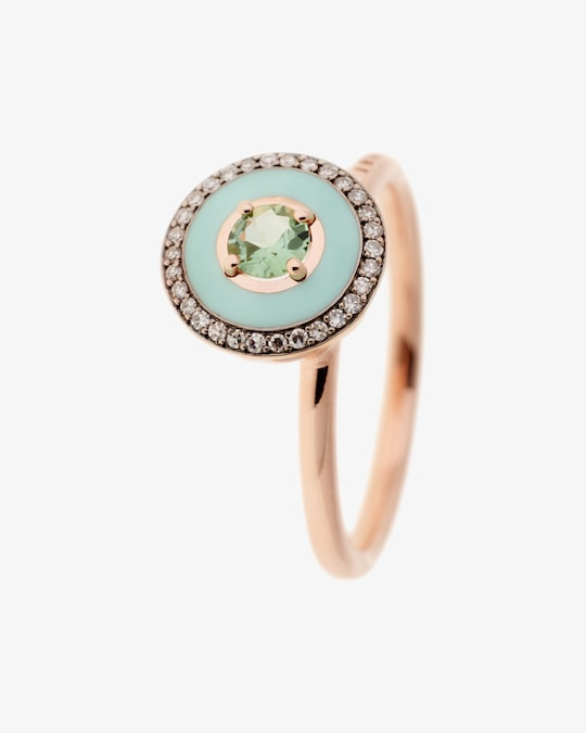 Selim Mouzannar Mint Green Enamel, Diamond & Tourmaline Ring 0