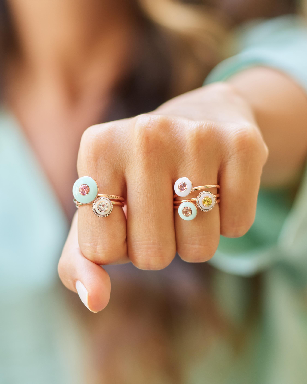 Selim Mouzannar Mint Green Enamel, Diamond & Tourmaline Ring 2