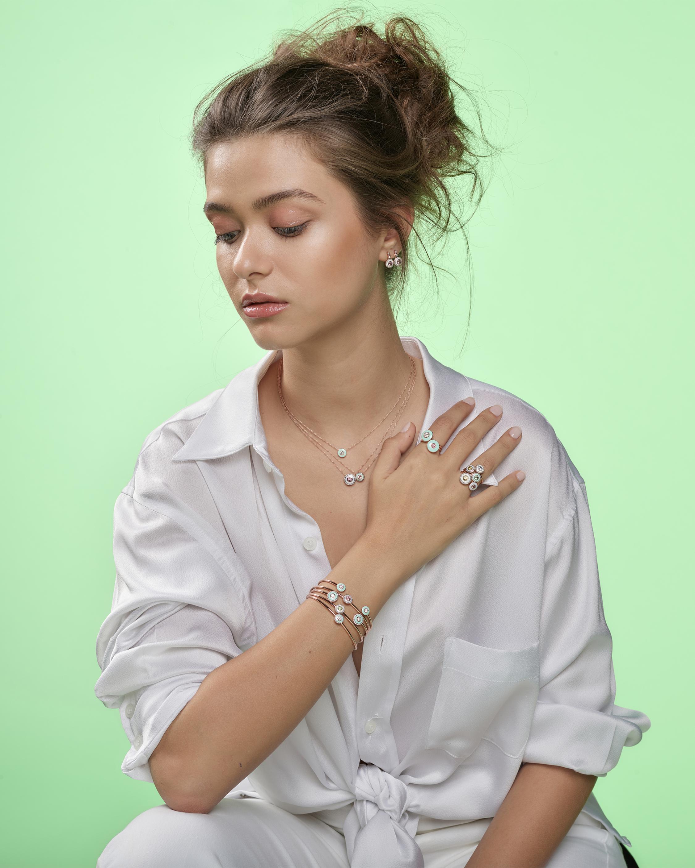 Selim Mouzannar Mint Green Enamel & Diamond Pendant Necklace 2