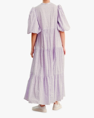 Puffed-Sleeve Maxi Dress