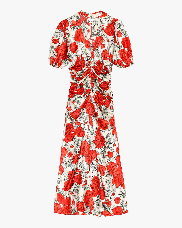 Ganni Silk Stretch Satin Midi Dress 2