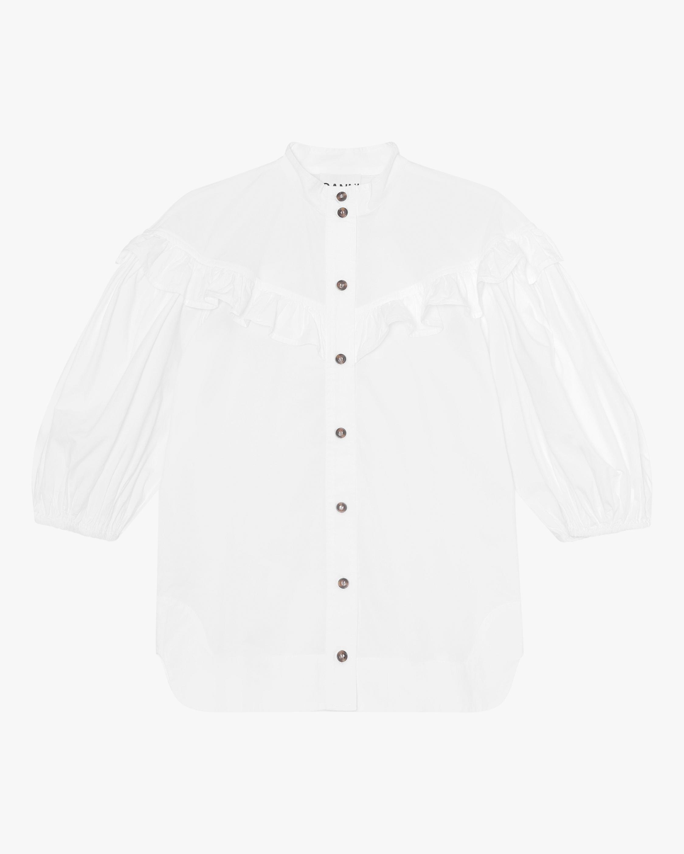 Ganni Cotton Poplin Frill Shirt 2
