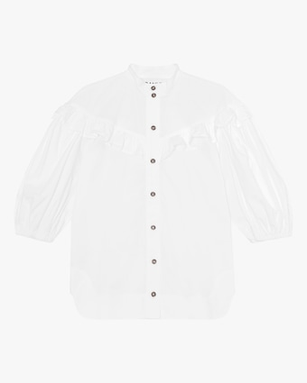 Ganni Cotton Poplin Frill Shirt 1