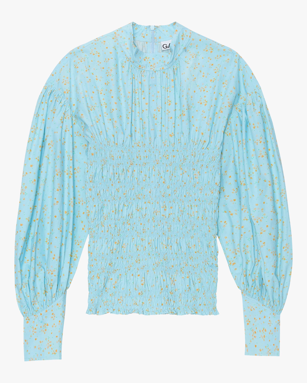 Ganni Puffed-Sleeve Cotton Poplin Top 0
