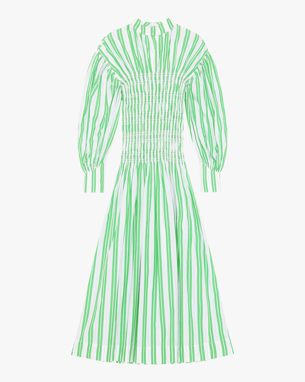 Ganni Striped Shirred Cotton Dress 0