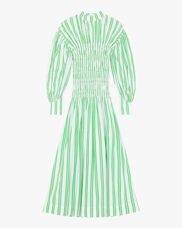 Ganni Striped Shirred Cotton Dress 1