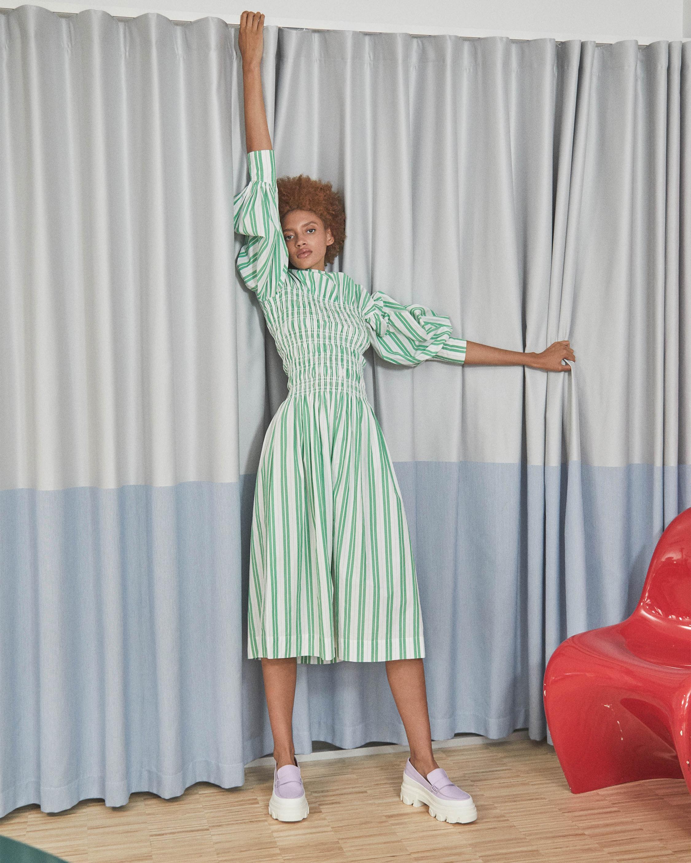 Ganni Striped Shirred Cotton Dress 2