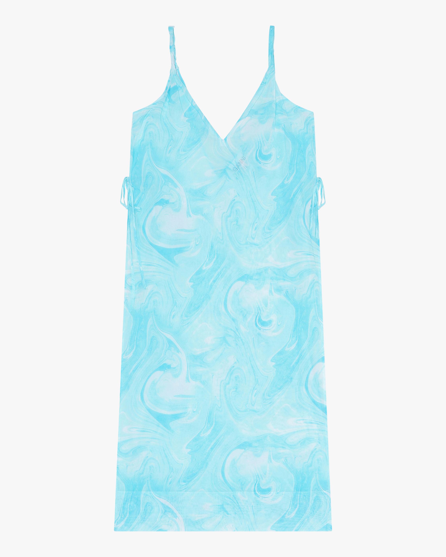 Ganni V-Neck Cotton Shift Dress 0