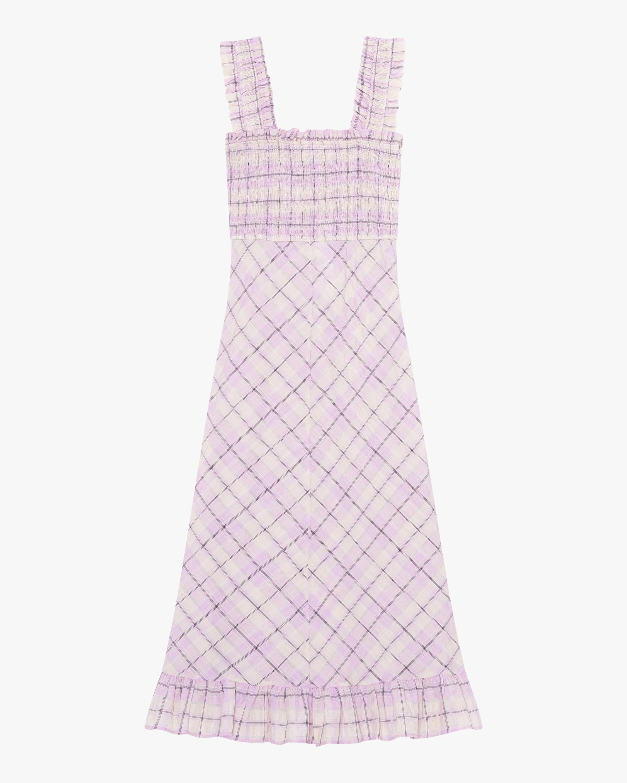 Ganni Check Seersucker Midi Dress 0