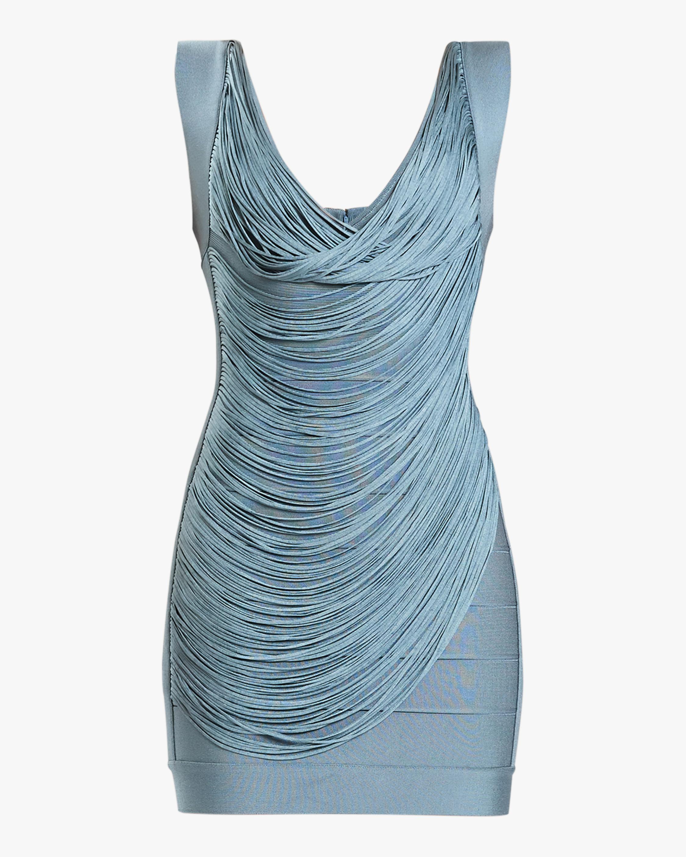 Herve Leger Draped-Fringe V-Neck Mini Dress 0