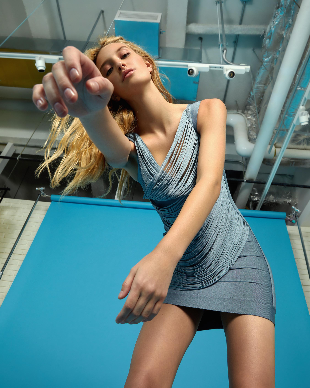 Herve Leger Draped-Fringe V-Neck Mini Dress 2