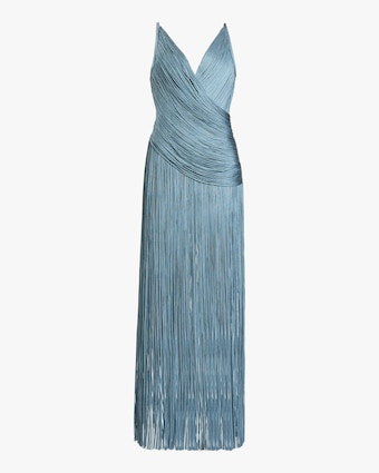 Herve Leger Draped-Fringe V-Neck Gown 1