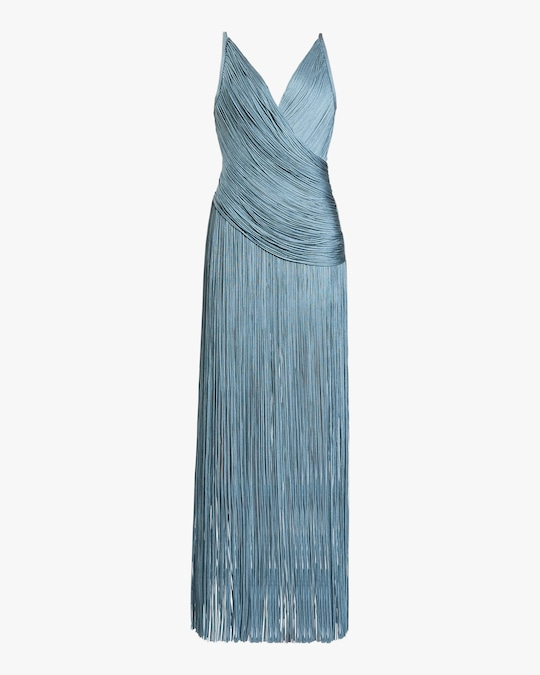 Herve Leger Draped-Fringe V-Neck Gown 0