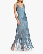 Herve Leger Draped-Fringe V-Neck Gown 2