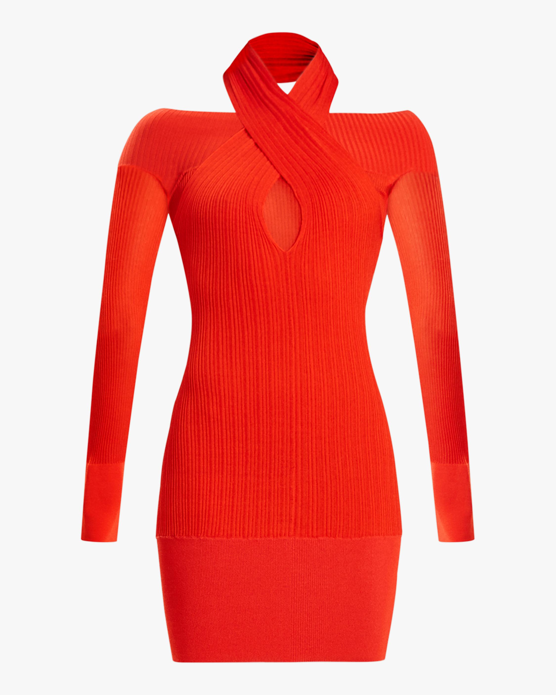 Herve Leger Draped Halter-Neck Mini Dress 0