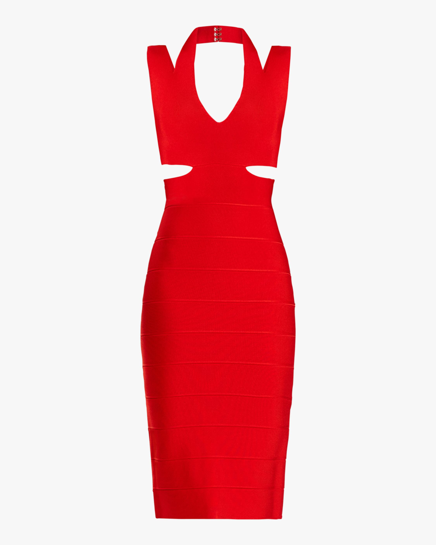 Herve Leger Cutout Crossback V-Neck Mini Dress 0
