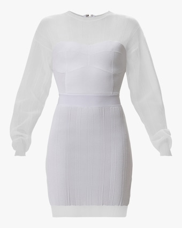 Herve Leger Sheer Ribbed Geometric Mini Dress 1