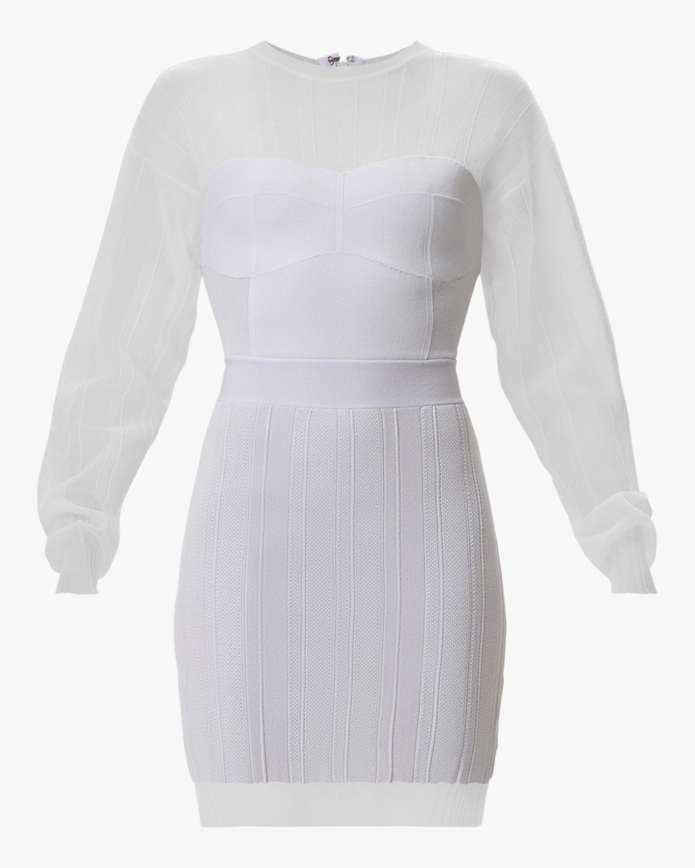 Herve Leger Sheer Ribbed Geometric Mini Dress 0