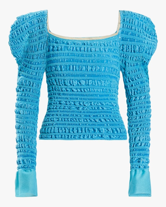 Herve Leger Puckered-Stitch Strong-Shoulder Top 0