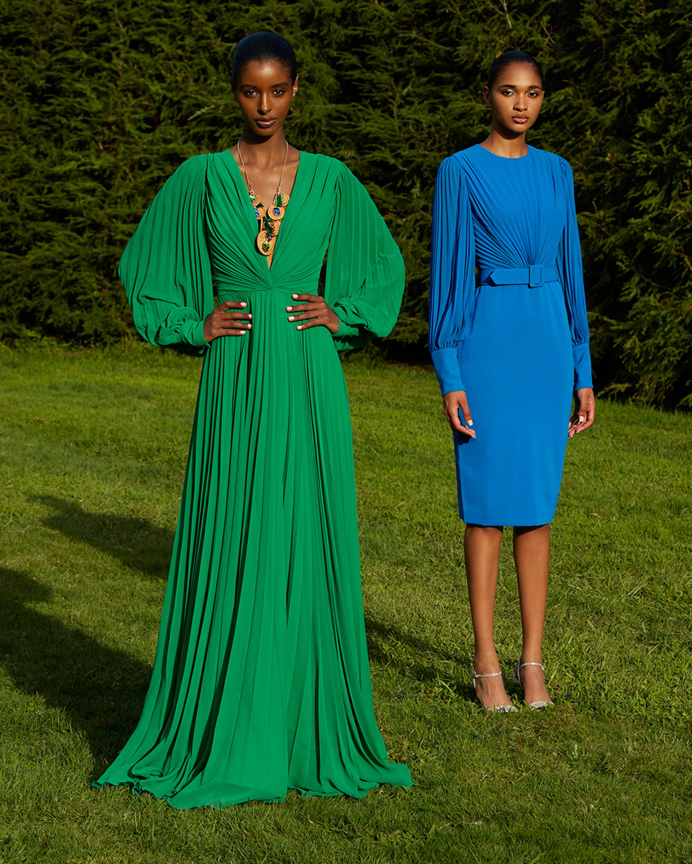 Badgley Mischka Odessa Belted-Waist Dress 2