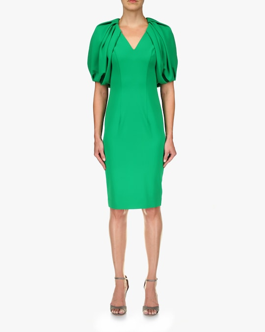 Badgley Mischka Puff-Sleeve Dress 0