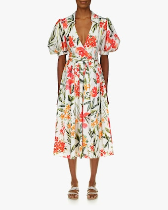 Badgley Mischka Floral Puff-Sleeve Dress 1