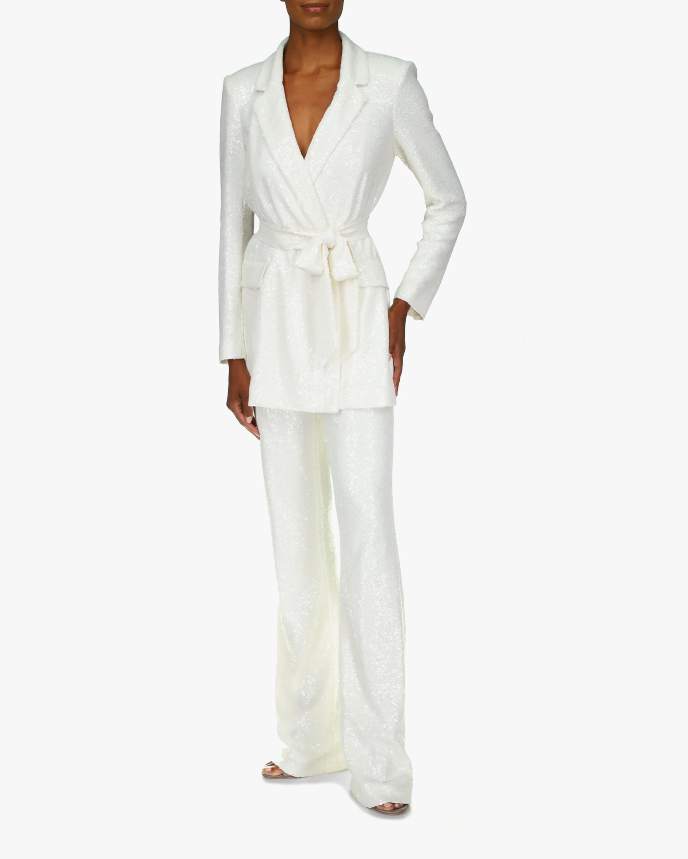 Badgley Mischka White Sequin Jacket 0