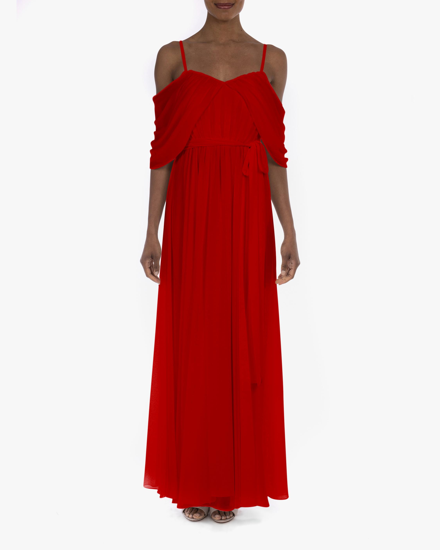 Badgley Mischka Georgette Draped Gown 0