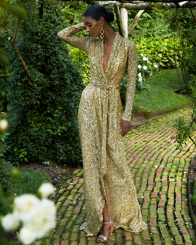Badgley Mischka Sequin Long-Sleeve Wrap Gown 2