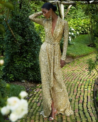 Badgley Mischka Sequin Long-Sleeve Wrap Gown 2