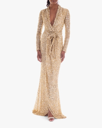 Badgley Mischka Sequin Long-Sleeve Wrap Gown 1