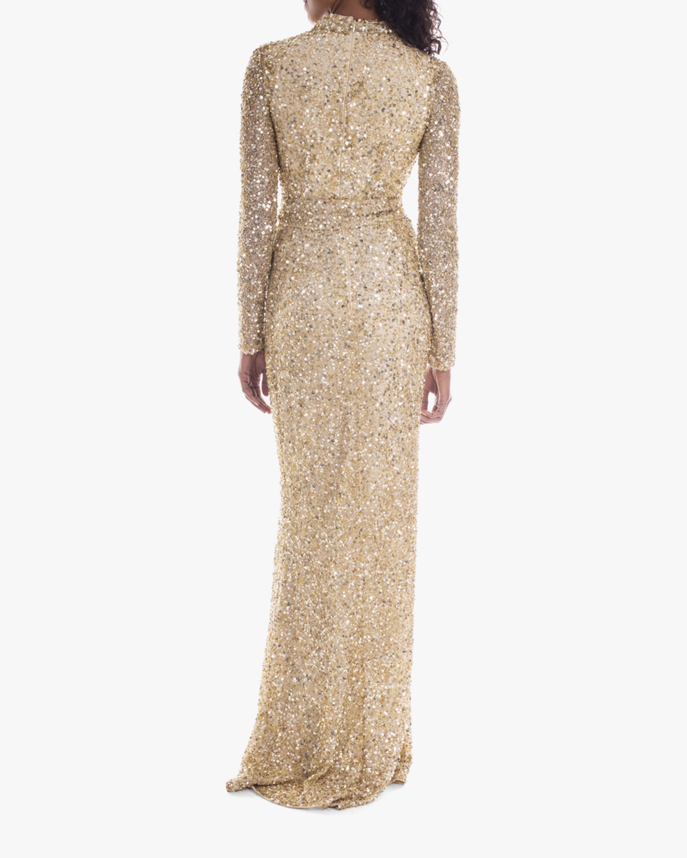 Badgley Mischka Sequin Long-Sleeve Wrap Gown 3