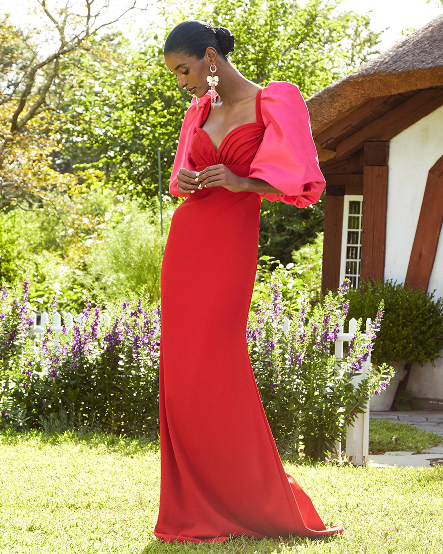 Badgley Mischka Odessa Blouson-Sleeve Gown 2